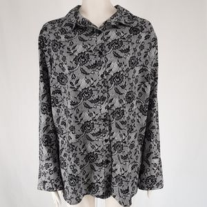 Maggie Barnes | Button Up Lace Print Top